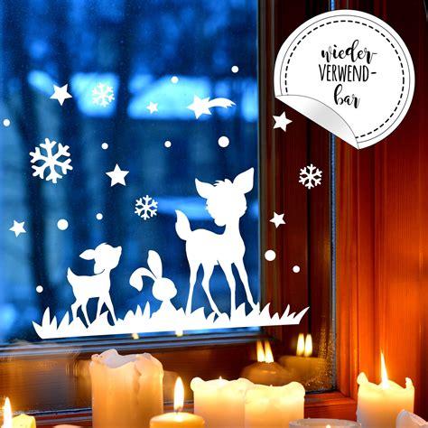 Fensterbilder Weihnachten Selbstklebend Sterne by Fensterbild Rehe Hase Fensterdeko Winterlandschaft