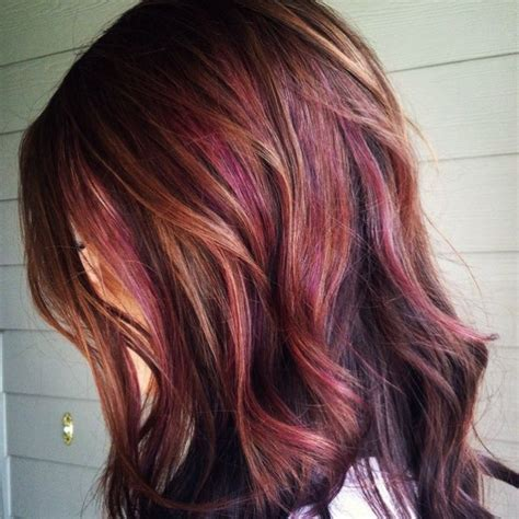 subtle colors chestnut brown with caramel and subtle reddish plum