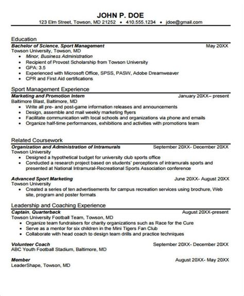 sports marketing resume sle resume sports marketing