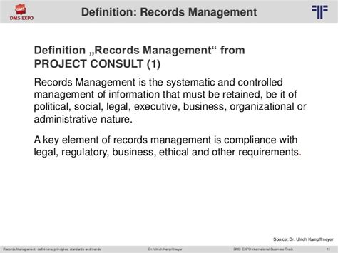 Records Definition En Records Management Definitions Principles Standards And Trend