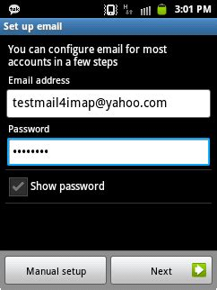 yahoo mail for android yahoo account to android using imap