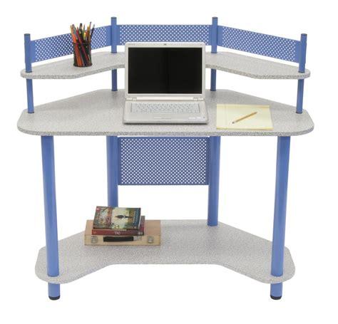 metal corner desk blue polished metal corner desk using light gray hardboard