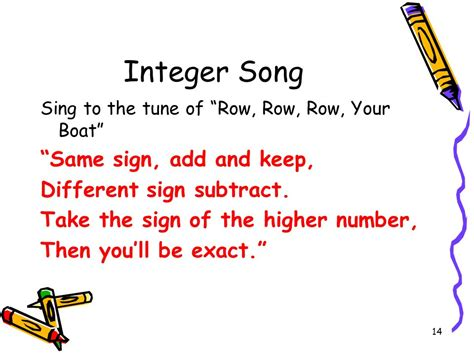 row row your boat integer song math adding integers ppt download