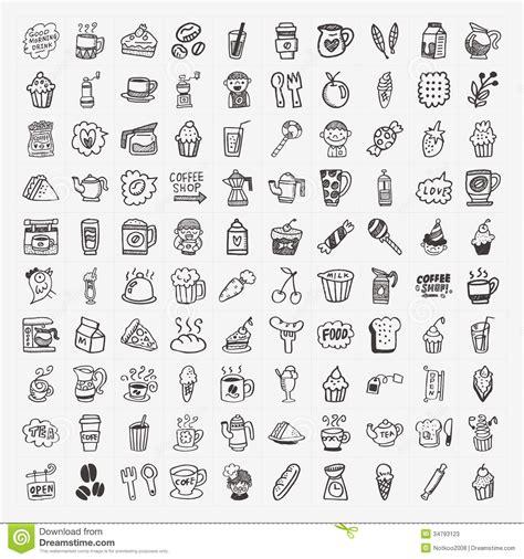 doodle guide 100 elements 100 doodle coffee element icons set stock photos image