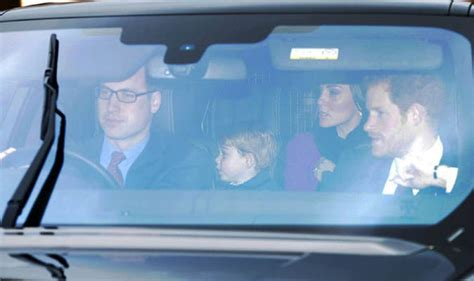 see prince george with uncle harry en route to the queens kate and william take prince george and princess charlotte