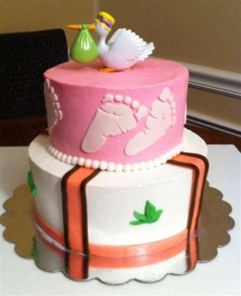 Baby Shower Cake With Baby On Top by 2 Tier Baby Shower Cake With Stork Delivering Baby On Top Jpg