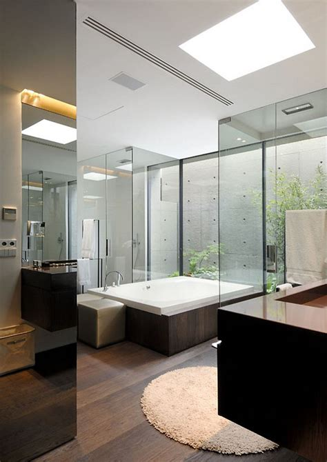 Glass Wall Bathroom One Way Glass Bathroom Decosee Com