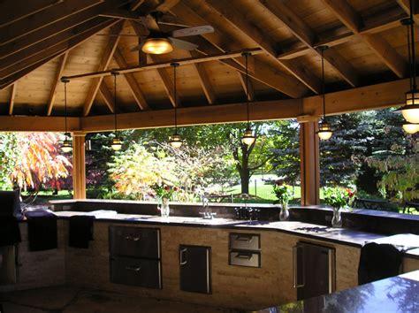 outdoor bars  kitchens cedar wood structures