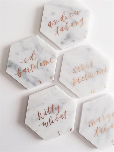 diy place cards diy marble hexagon place cards grace niu design