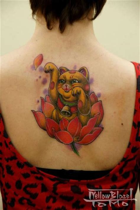 japanese back maneki neko tattoo by yellow blaze tattoo
