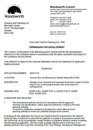 Permission Granted Letter planning permission granted at 4 hildreth sw12