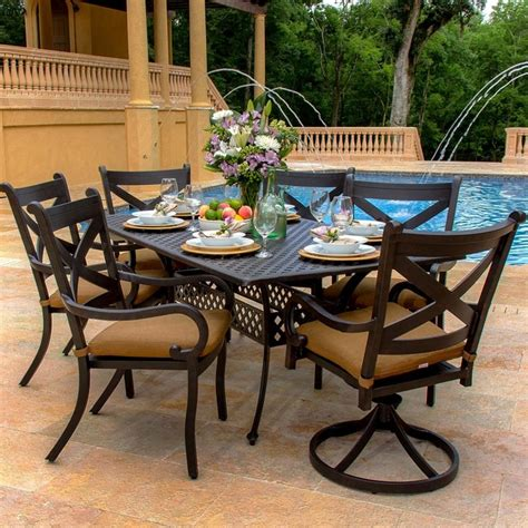 6 patio dining set avondale 6 person cast aluminum patio dining set modern