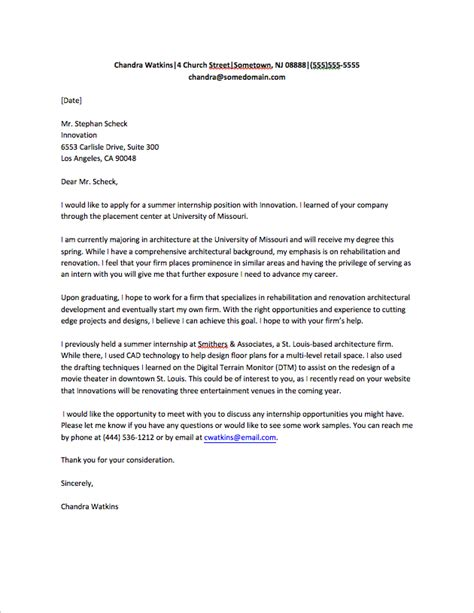 cover letter of internship cover letter for internship sle fastweb