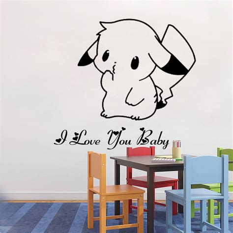 personal wall stickers 50 40cm pikachu mural decals decor home