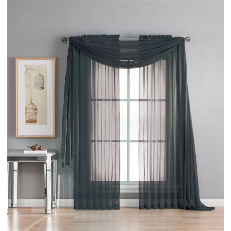 black curtain scarf window elements diamond sheer voile 56 in w x 216 in l