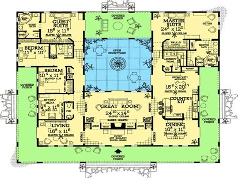 Spanish Style Home Plans With Courtyards Spanish Hacienda Mexican Hacienda House Plans