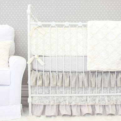Vintage Style Crib Bedding Jacquelyn S Linen Lace Ruffle Crib Bedding Vintage Inspired Taupe And Lace