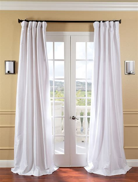 White Faux Silk Taffeta Curtains Drapes Ebay