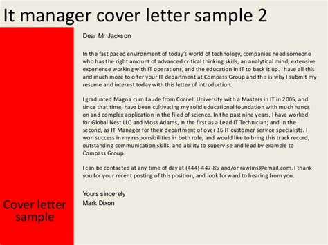 it director cover letter it manager cover letter