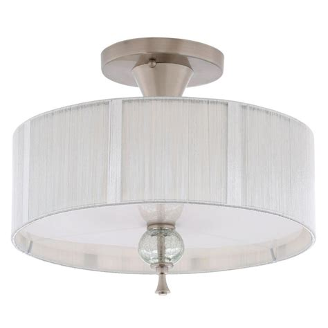 Semi Flush Ceiling Light Fixture World Imports Bayonne Collection 3 Light Brushed Nickel