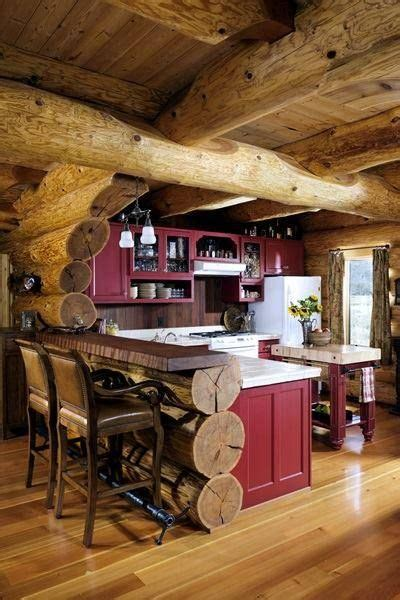 rustic lake house cabin kitchen love  punch  red