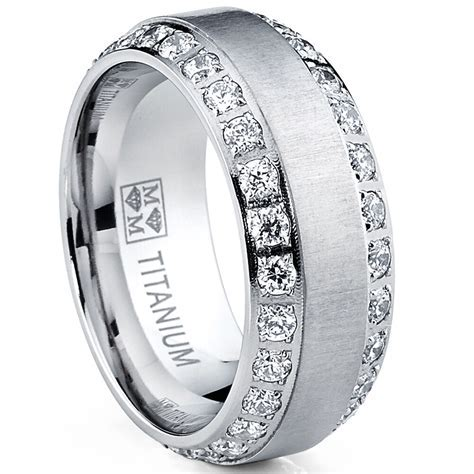 MENS OR WOMENS eternity TITANIUM LCS. DIAMOND WEDDING BAND