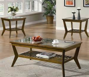 Living Room Coffee Table Sets Oak Finish Modern 3pc Coffee Table Set W Glass Tops