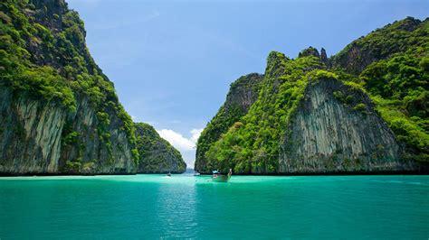 thailand thai sea sky beach island boat ship green