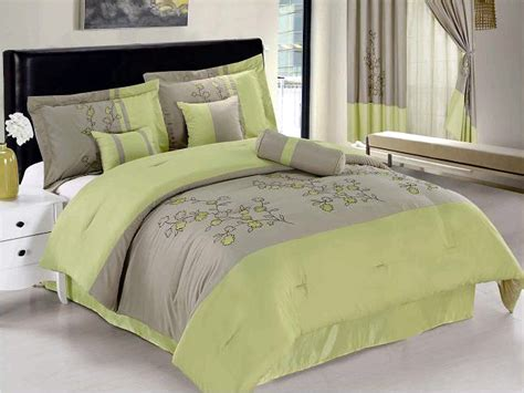 new apple green gray vine bedding microfiber comforter set