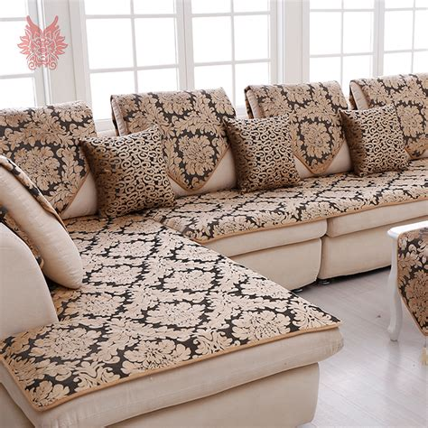 Sofa Cover Price Europe Black Gold Floral Jacquard Terry Cloth Sofa Cover