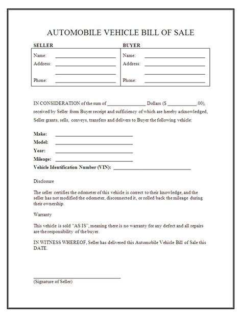 printable sle free car bill of sale template form