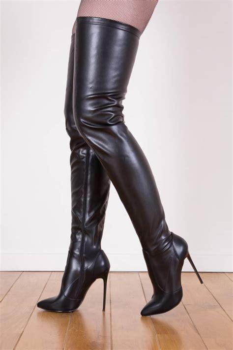 thigh high slippers black giaro 12cm heeled thigh high boots
