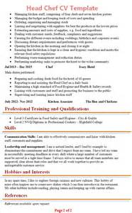 cv template chef chef cv template 2