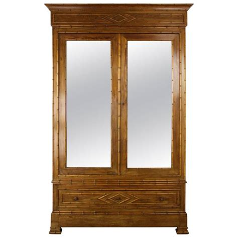 antique english armoire antique english faux bamboo armoire with mirrored doors at