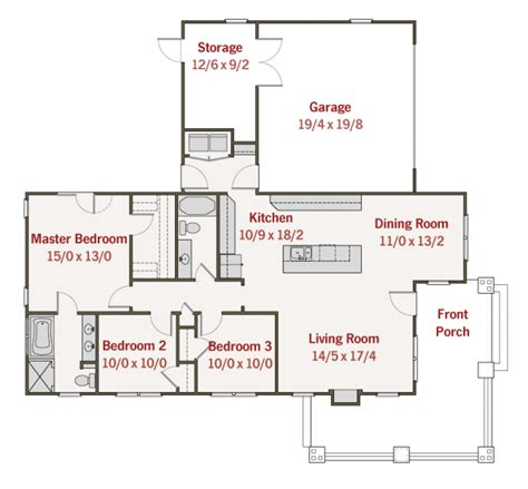 Floor Plans With 2 Master Bedrooms by Craftsman Style House Plan 3 Beds 2 Baths 1450 Sq Ft