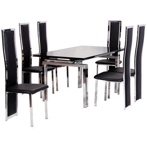 Glass Dining Sets 6 Chairs Chrome Glass Extending Dining Table And Chair Set With 6 Seats Black Ebay