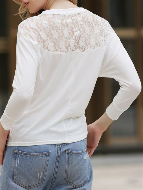 White Batwing Top Size S s batwing top dolman sleeve lace t shirt
