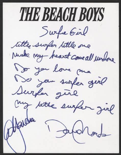 in the next room lyrics lot detail boys handwritten signed quot surfer quot lyrics