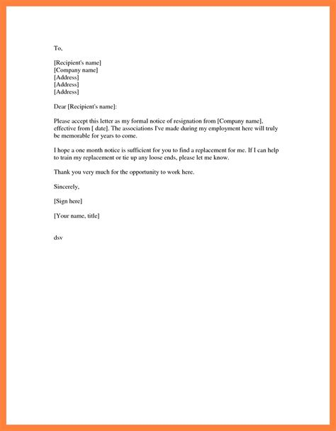 Resignation Letter Sle Simple by 5 Formal Resignation Letter Sle 1 Month Notice Notice Letter