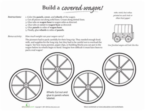 How To Make A Paper Wagon - make a covered wagon worksheet education