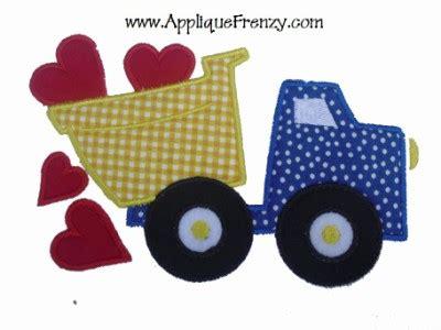 Valentines Day Dump Truck Applique by Dumptruck Hearts Applique Design