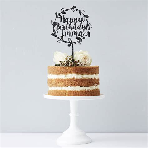 Personalised Birthday Cakes by Personalised Floral Birthday Cake Topper By