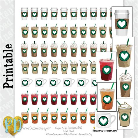 coffee planner stickers printable tea coffee printable planner stickers iced tea and coffee