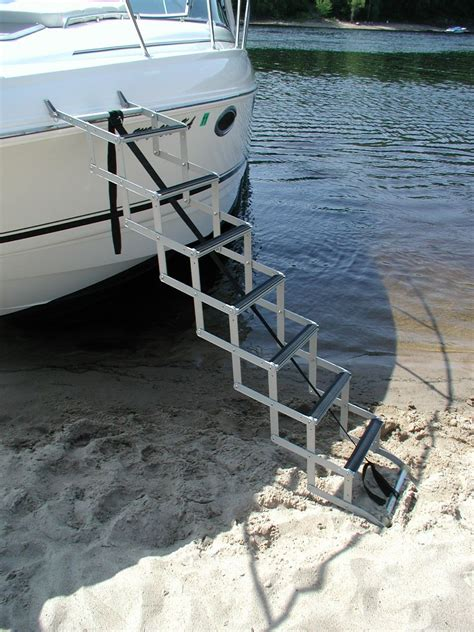 ladder on boat trailer beach to bow ladder accordion style for boats with