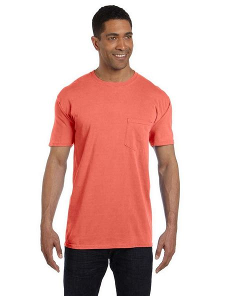 bright salmon comfort colors comfort colors 6030cc garment dyed pocket t shirt