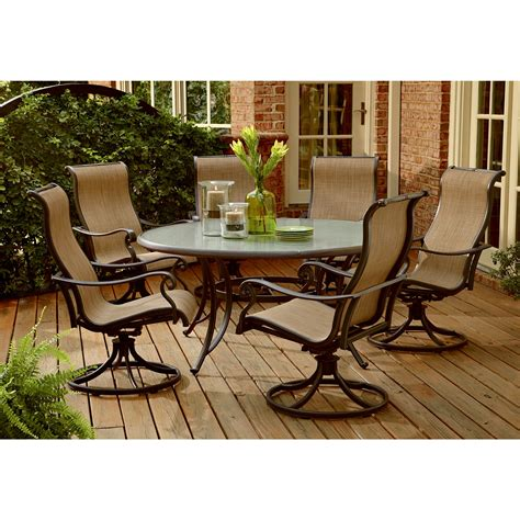 Glass Patio Furniture Panorama 7 Patio Dining Set Improve Your And Patio Sears