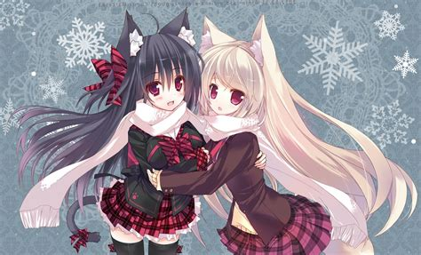 anime anime girls cat girl scarf animal ears nekomimi