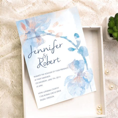 flower wedding kits dusty blue and soft pink watercolor floral