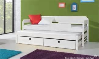 lit gigogne blanc pour enfant en bois massif 2 couchages