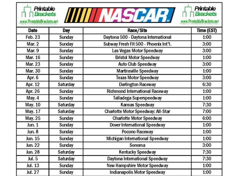 printable nascar schedule search results for printable nascar sprint cup 2015